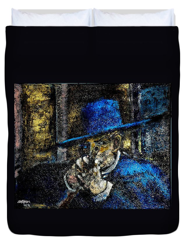 Colonel Mortimer's Shot Duvet Cover featuring the painting Colonel Mortimer's Shot by Seth Weaver