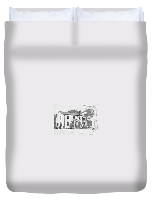 Drawing - Pen And Ink Duvet Cover featuring the drawing Colonel Quarters 2 - Fort Benning Ga by Marco Morales
