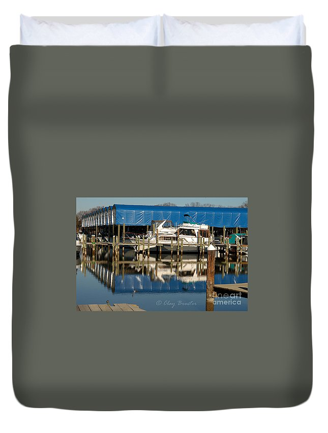 Clay Duvet Cover featuring the photograph Colonial Beach Marina by Clayton Bruster