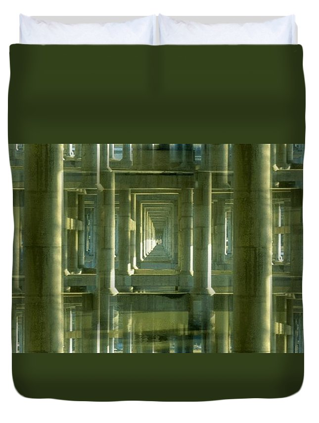 Seattle Duvet Cover featuring the photograph Colonnade Park Seattle by Tim Allen
