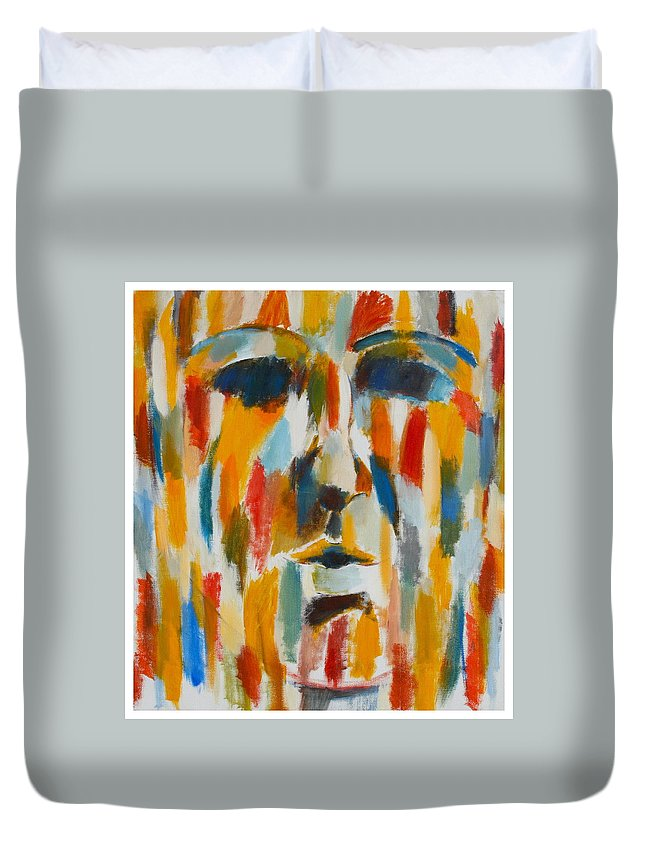 Yellow Duvet Cover featuring the painting Color Blind by Habib Ayat