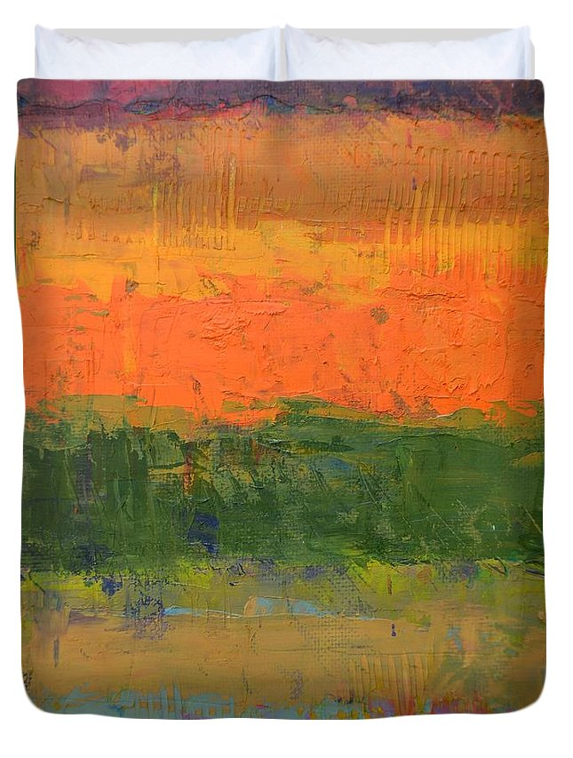 Abstract Duvet Cover featuring the painting Color Collage Four by Michelle Calkins