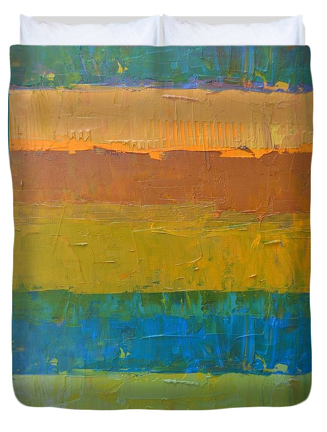 Abstract Duvet Cover featuring the painting Color Collage Three by Michelle Calkins