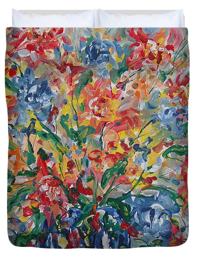 Painting Duvet Cover featuring the painting Color Expressions. by Leonard Holland