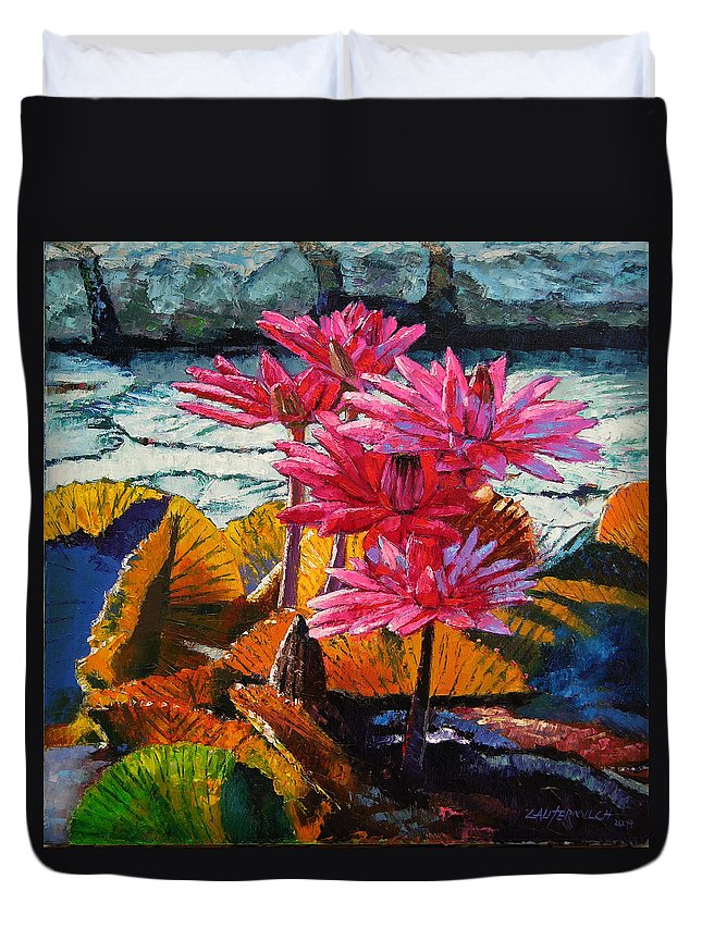 Water Lilies Duvet Cover featuring the painting Color Texture And Light by John Lautermilch