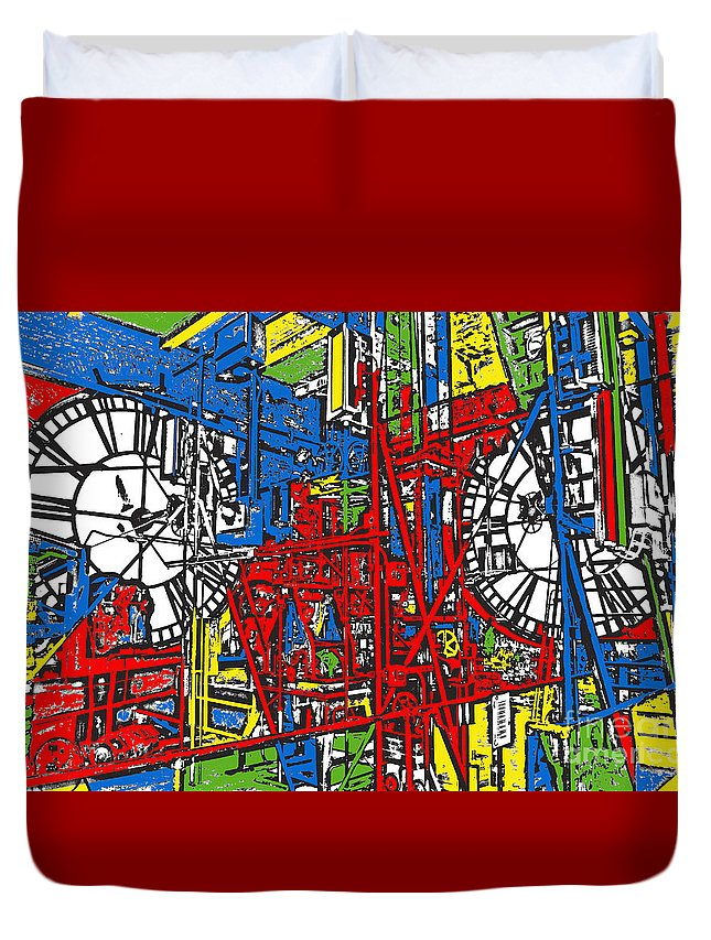 Clock Duvet Cover featuring the photograph Color Time by Jost Houk