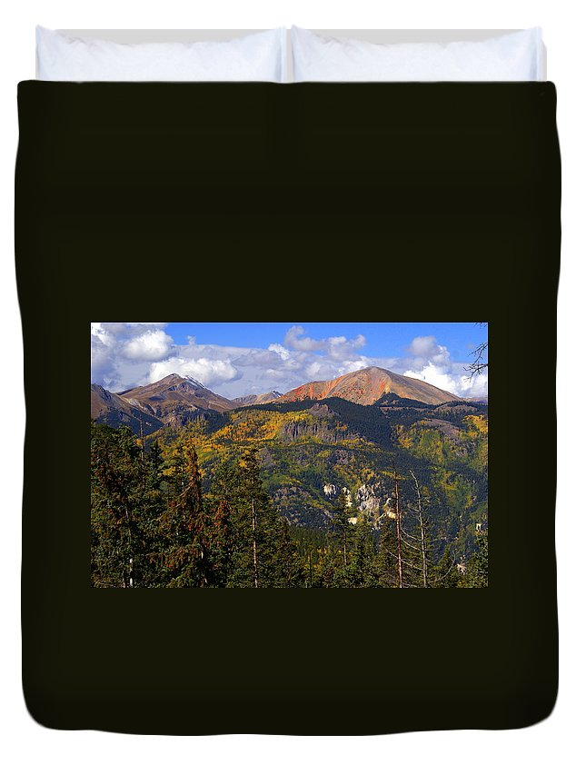 Mountain Duvet Cover featuring the photograph Colorado Fall by Marty Koch