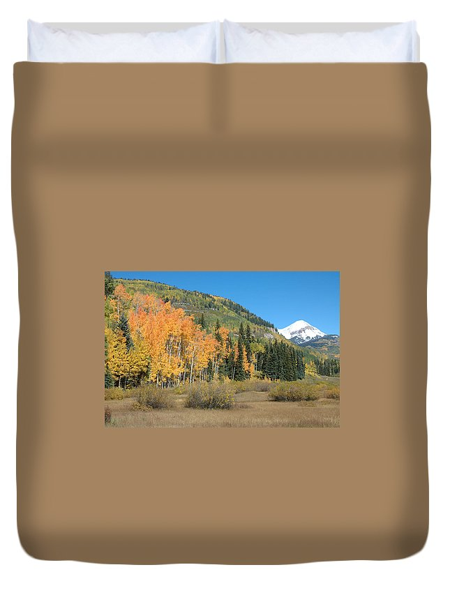 Aspen Duvet Cover featuring the photograph Colorado Gold by Jerry McElroy