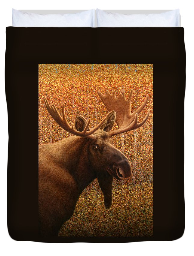 Moose Duvet Cover featuring the painting Colorado Moose by James W Johnson