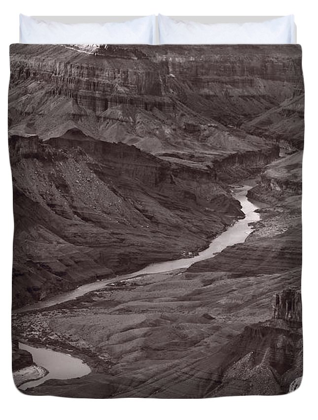 Canyon Duvet Cover featuring the photograph Colorado River At Desert View Grand Canyon by Steve Gadomski
