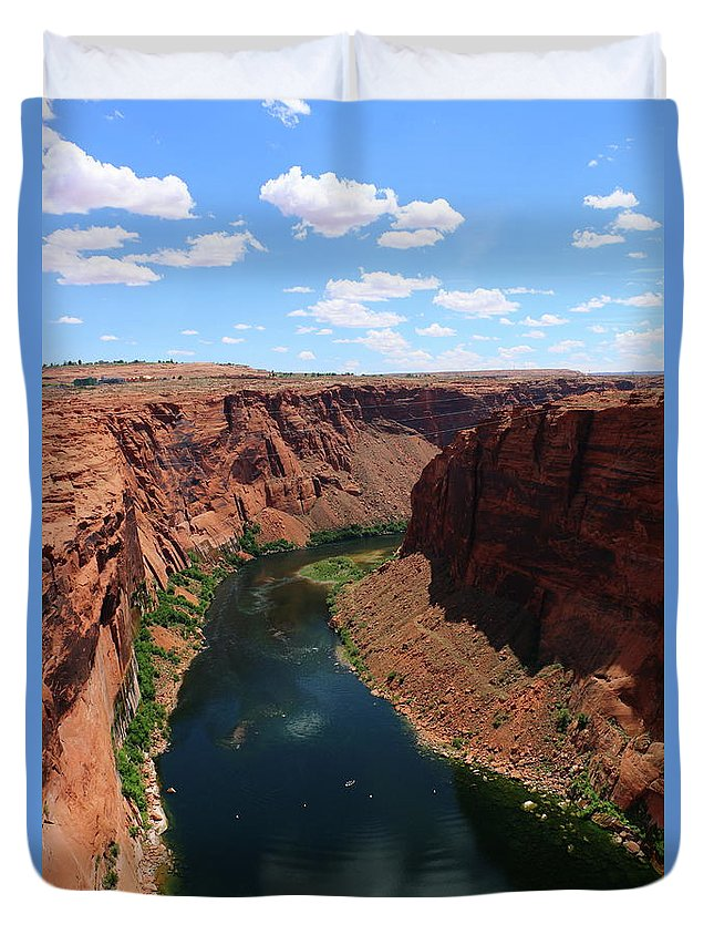 River Duvet Cover featuring the photograph Colorado River At Glen Canyon Dam by Christiane Schulze Art And Photography