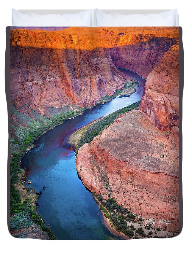 America Duvet Cover featuring the photograph Colorado River Bend by Inge Johnsson