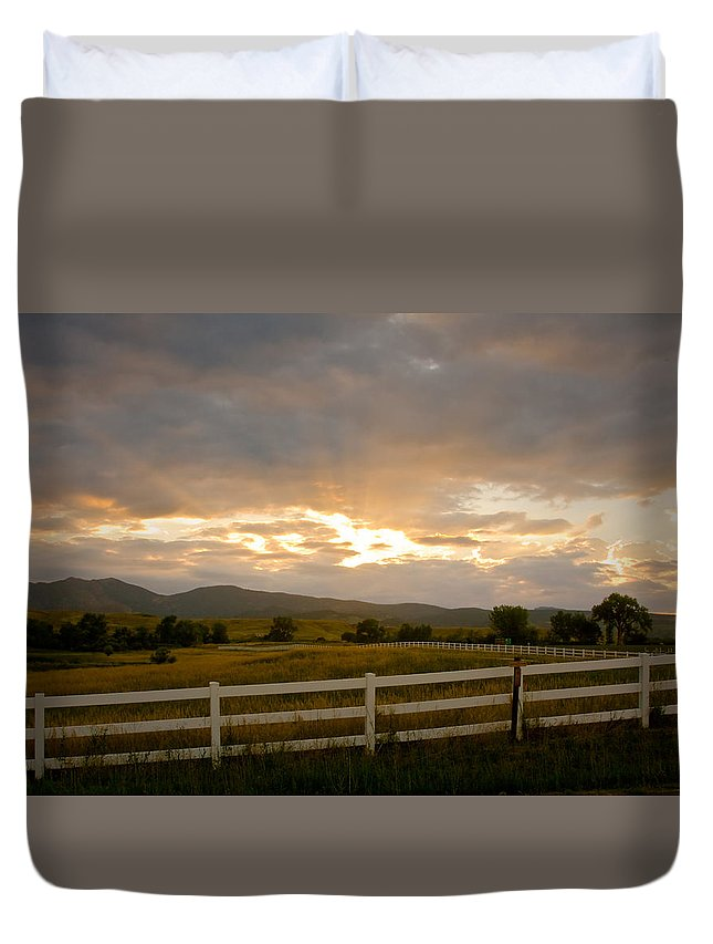Bo Insogna Duvet Cover featuring the photograph Colorado Rocky Mountain Country Sunset by James BO Insogna