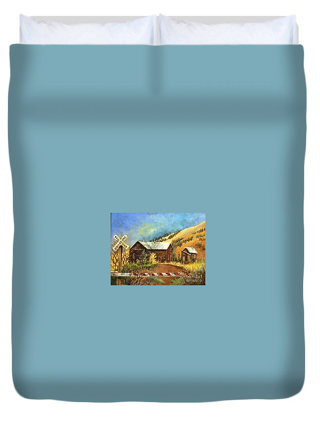 House Duvet Cover featuring the painting Colorado Shed by Linda Shackelford