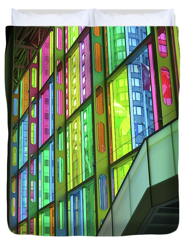 Montreal Duvet Cover featuring the photograph Colored Glass 1 by Randall Weidner