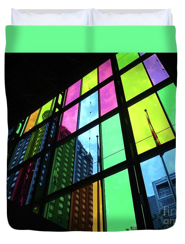 Montreal Duvet Cover featuring the photograph Colored Glass 3 by Randall Weidner