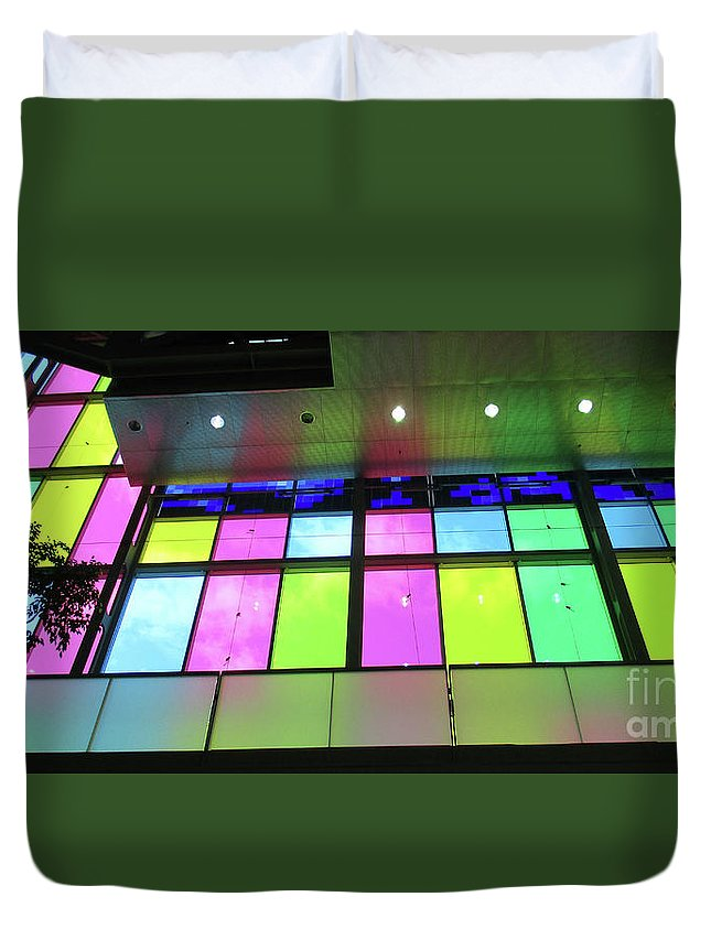 Montreal Duvet Cover featuring the photograph Colored Glass 8 by Randall Weidner