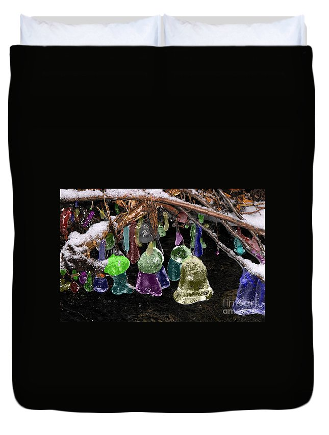 Ice Duvet Cover featuring the photograph Colored Ice Bells by David and Lynn Keller