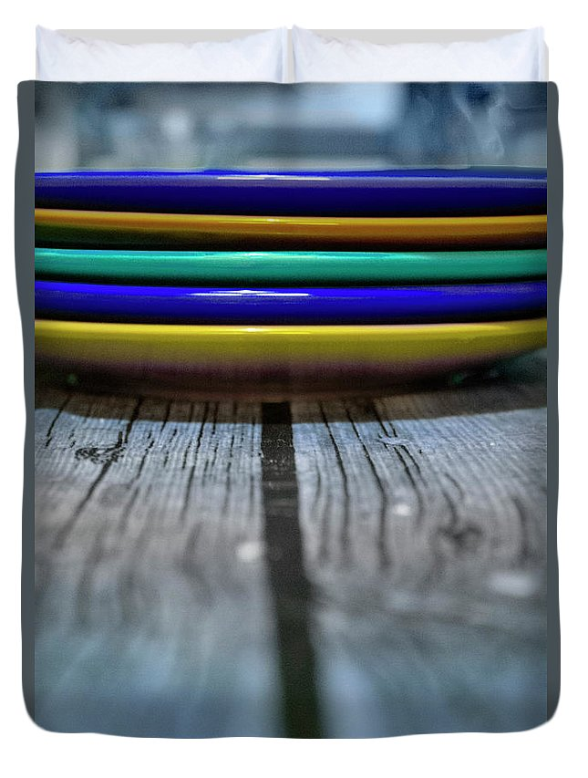 Plate Duvet Cover featuring the photograph Colored Plates 1 by Irina Effa