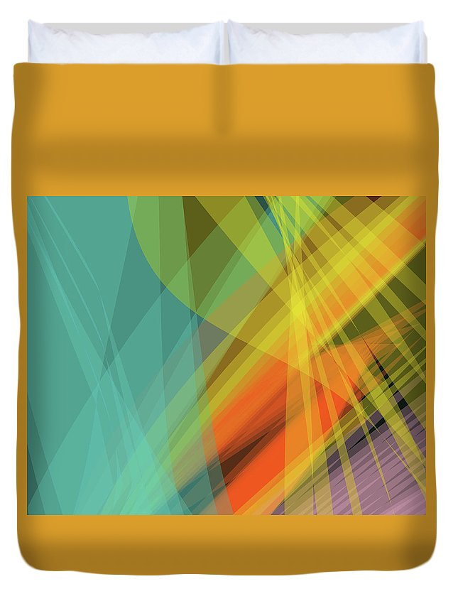 Wave Duvet Cover featuring the digital art Colorful Abstract Vector Background Banner, Transparent Wave Lin by Svetlana Corghencea