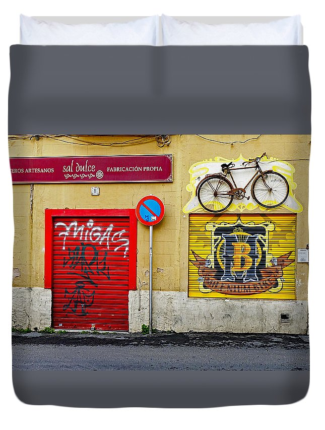 Advertising Duvet Cover featuring the photograph Colorful Advertising In Palma Majorca Spain by Richard Rosenshein