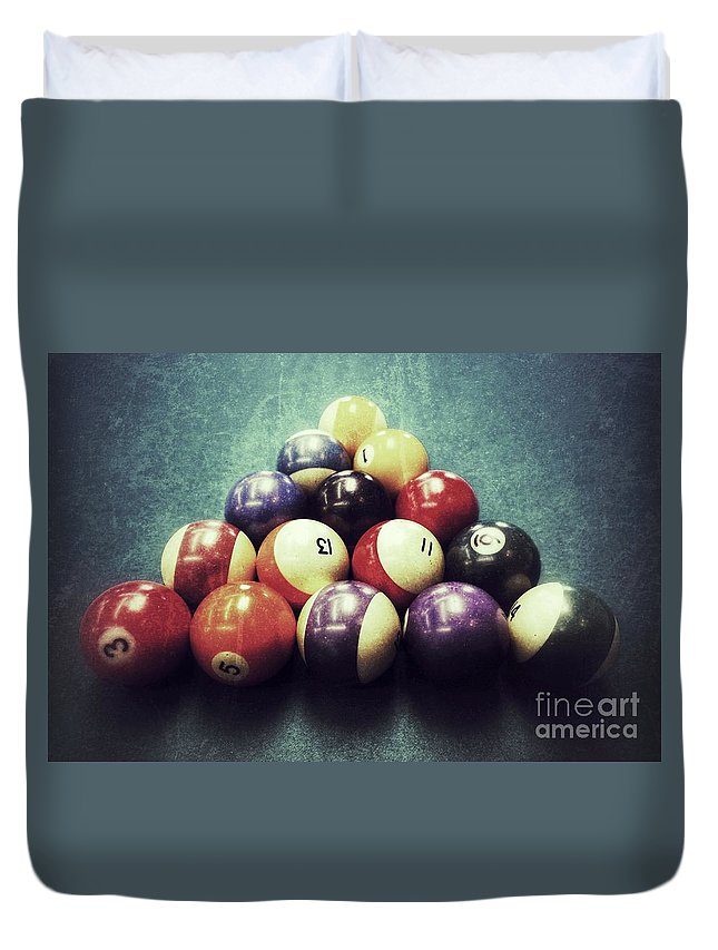 Pool Table Duvet Cover featuring the photograph Colorful Billiard Balls by John Myers