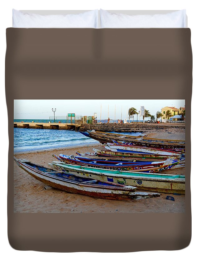 Boats Duvet Cover featuring the photograph Colorful Boats by Clifton Facey
