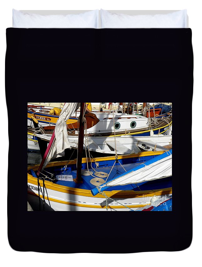 voiles Latines Duvet Cover featuring the photograph Colorful Boats by Lainie Wrightson