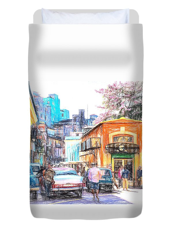 Cuba Duvet Cover featuring the photograph Colorful Buildings And Old Cars In Havana - V3 by Les Palenik