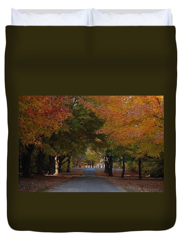Trees Duvet Cover featuring the photograph Colorful Byway by Robert Coffey