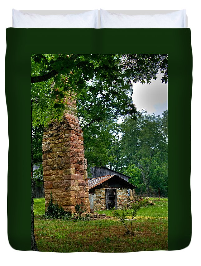 Chimney Duvet Cover featuring the photograph Colorful Chimney by Douglas Barnett