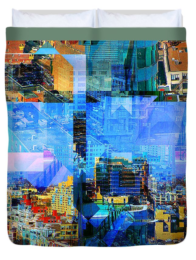 Collage Duvet Cover featuring the digital art Colorful City Collage by Phil Perkins