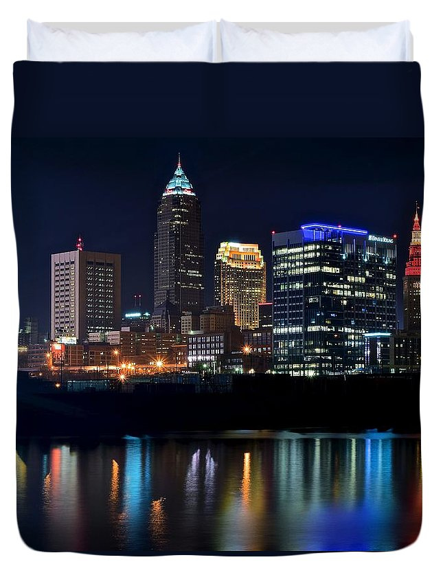Cleveland Duvet Cover featuring the photograph Colorful Cleveland by Frozen in Time Fine Art Photography