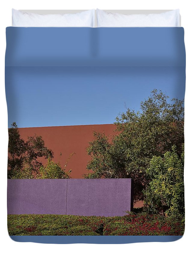 Linda Brody Duvet Cover featuring the photograph Colorful Commercial Building Exterior by Linda Brody