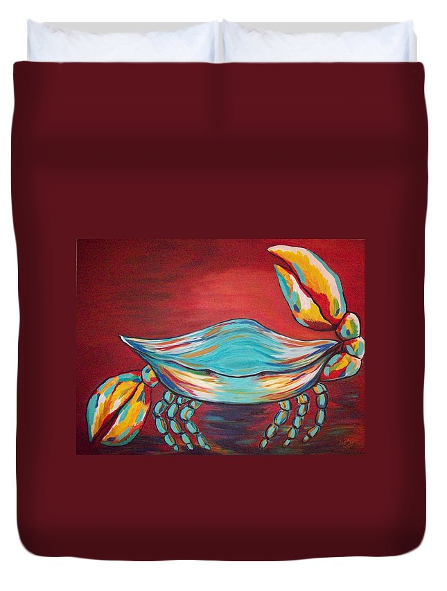 Sealife Duvet Cover featuring the painting Colorful Crab by Angela Miles Varnado