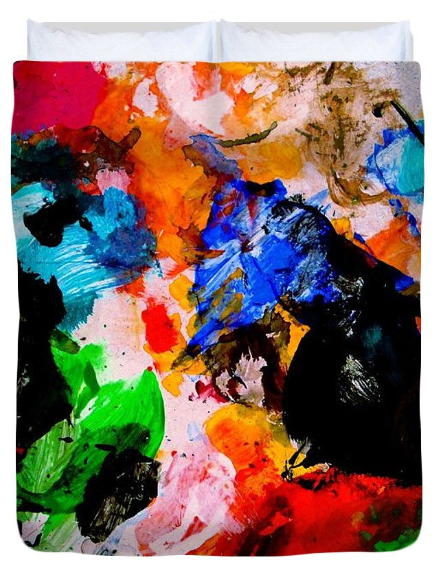 Abstract Duvet Cover featuring the painting Colorful Expression 13 by Natalie Holland