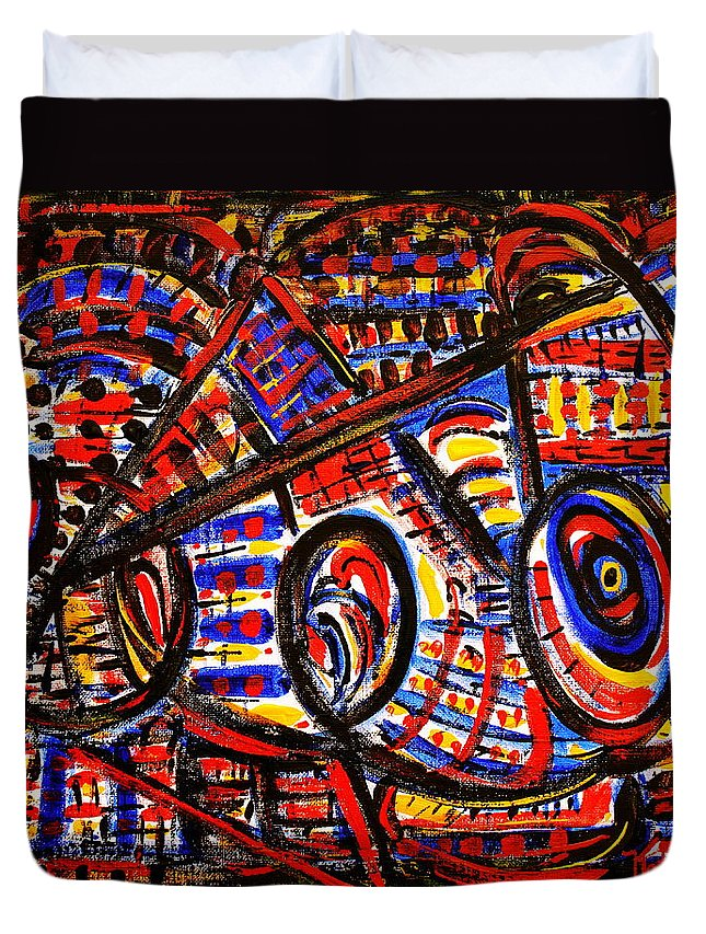Abstract Duvet Cover featuring the painting Colorful Expression 18 by Natalie Holland