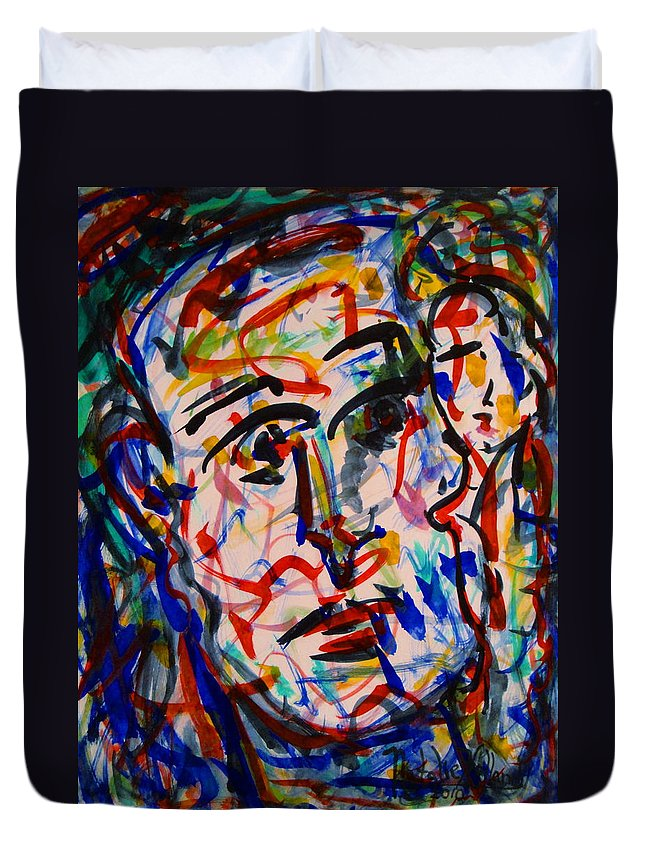 Expressionism Duvet Cover featuring the painting Colorful Expression-8 by Natalie Holland