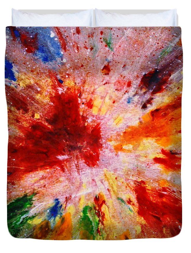 Expressionism Duvet Cover featuring the painting Colorful Expression-9 by Natalie Holland