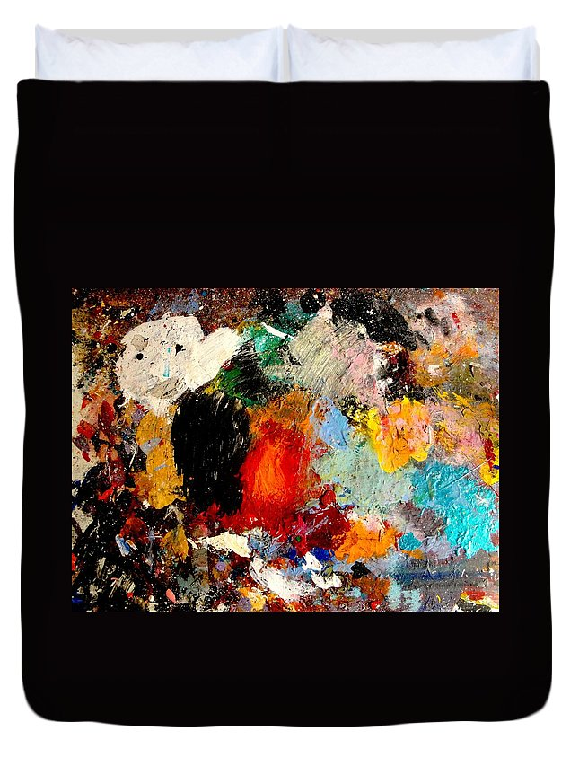 Abstract Duvet Cover featuring the painting Colorful Expressions by Natalie Holland