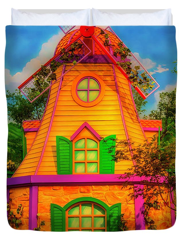 Garden Duvet Cover featuring the photograph Colorful Fantasy Windmill by Garry Gay