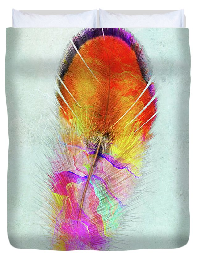 Color Fusion Duvet Cover featuring the mixed media Colorful Feather Art by Olga Hamilton