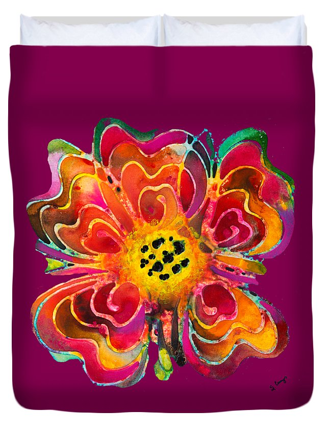 Colorful Duvet Cover featuring the painting Colorful Flower Art - Summer Love By Sharon Cummings by Sharon Cummings