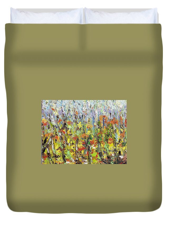 Autumn Abstract Paintings Duvet Cover featuring the painting Colorful Forest by Seon-Jeong Kim