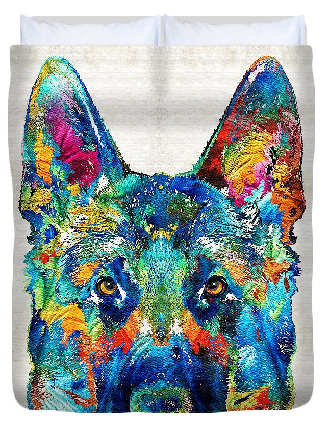 German Shepherd Duvet Cover featuring the painting Colorful German Shepherd Dog Art By Sharon Cummings by Sharon Cummings