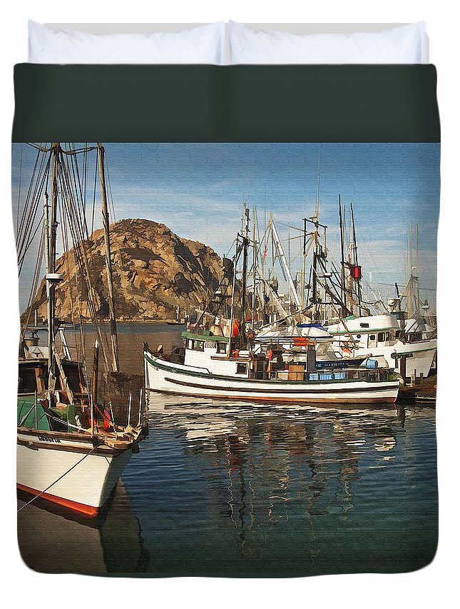 Morro Bay Duvet Cover featuring the digital art Colorful Harbor by Sharon Foster