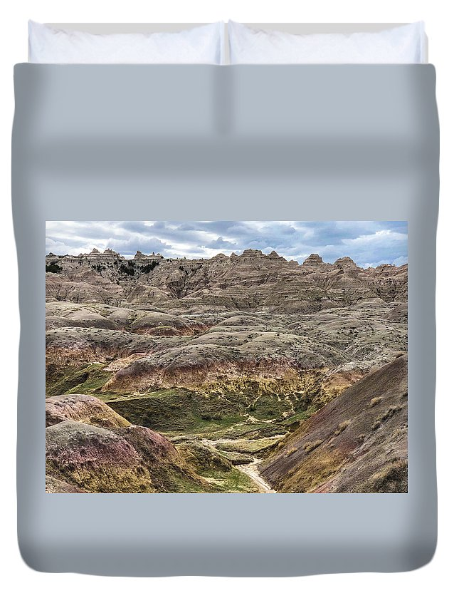 Breathtaking Duvet Cover featuring the photograph Colorful Layered Mountains by Sandra Lund