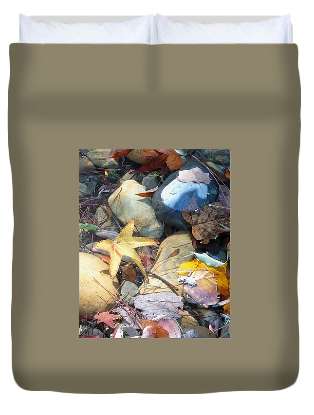 Leaves Duvet Cover featuring the photograph Colorful Leaves And Rocks In Creek by Carol Groenen