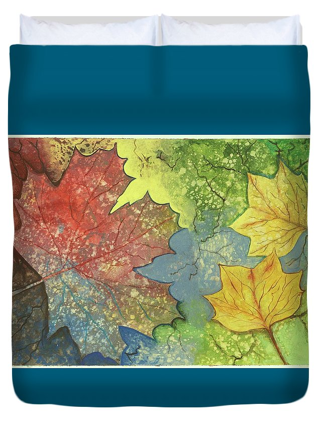 Trees Duvet Cover featuring the painting Colorful Leaves by Eileen Blair