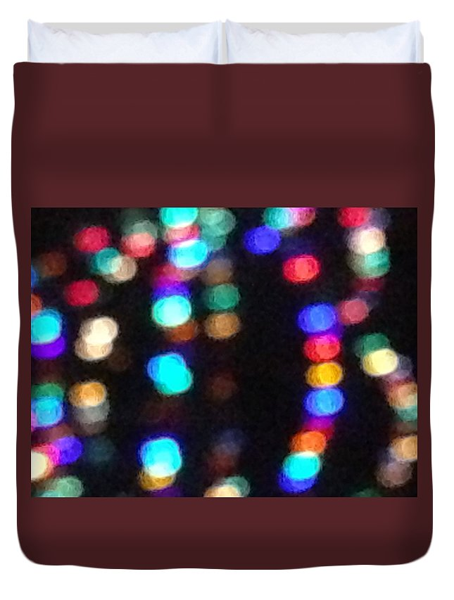 Blue Duvet Cover featuring the photograph Colorful Lights by Maria Malayter